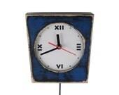 FREE SHIPPING - Pendulum Wall Clock, Blue clock, Wall hanging clock, Unique clock, Pendulum clock, Navy blue