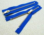 6inch - Victoria Blue Metal Zipper - Gold Teeth - 5pcs