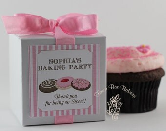 Birthday Baking Party...One Dozen Personalized Cupcake Mix Party Favors