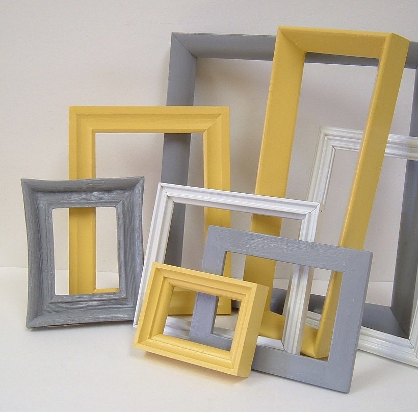 Yellow and grey home decor picture frames by mountaincoveantiques Home decoration photo frames