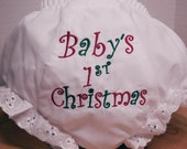 Diaper Cover for Babys 1st Christmas Embroidered in Red and Green