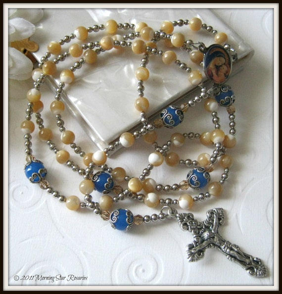 Catholic Rosary, Mother of Pearl Rosary Beads w/ Lady of Good Counsel Center