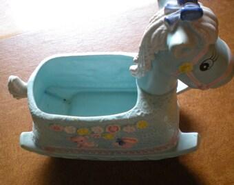 Vintage Rocking Baby Blue Horse Planter