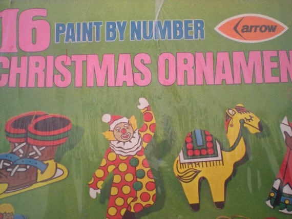 Vintage Paint By Number Wood Christmas Ornaments