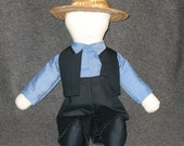 Amish Doll 17 inch Boy named Eli, he is signed and dated. .Ready to order. soft sculptured,good workmanship.my design.
