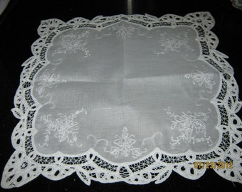 Cotton and Battenburg Lace Doily/ Mid Century Linens/ Madiera Linen Doily By Gatormom13