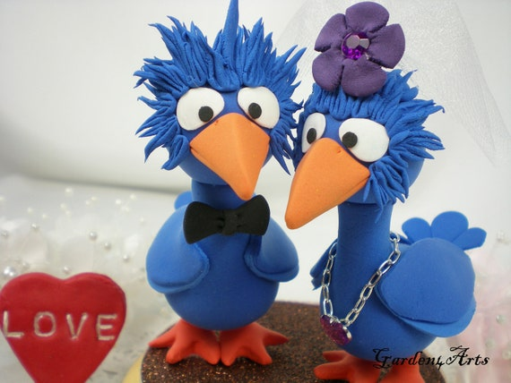 Custom Wedding Cake Topper-Love Big Blue Bird Couple with circle clear base