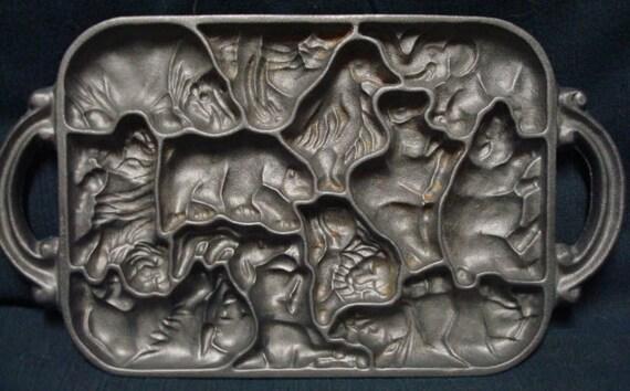 John Wright Cast Iron Animal Puzzle Mold Dated 1984
