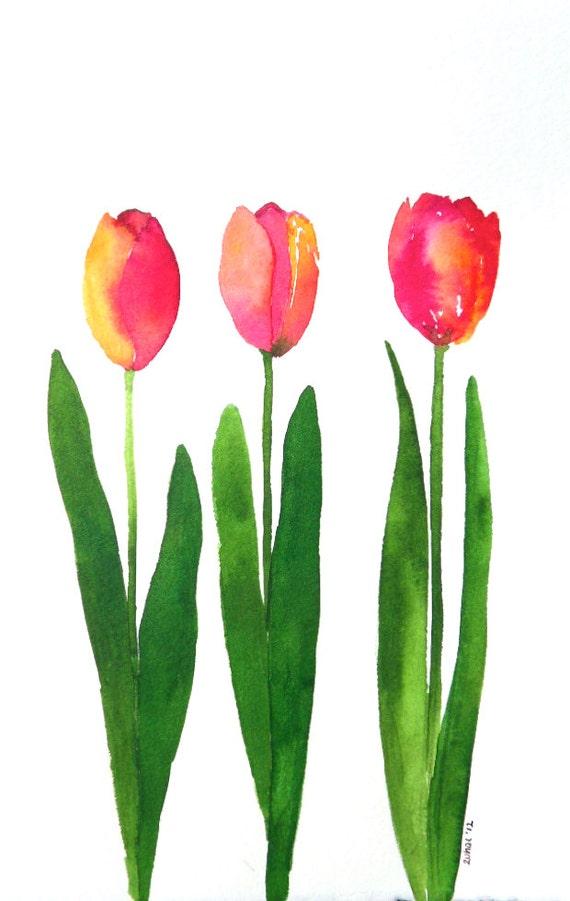 Tulip garden- original watercolor