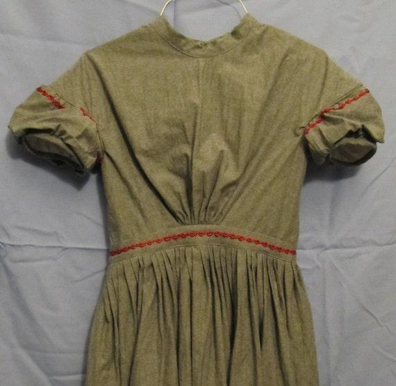 "Girl's Civil War Dress Grey with Rose Trim Size L / Waist 26"""