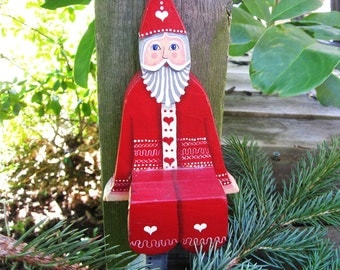 Christmas Folk Art Santa Shelf Sitter in Wood