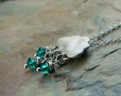 Tiny Raincloud Necklace with Raindrop Glass Beads - Whimsical Rainy Days - Praising Him Through the Storms