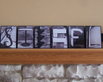 4x6 Custom Alphabet Photography Black and White Name Sign, Reclaimed Wood
