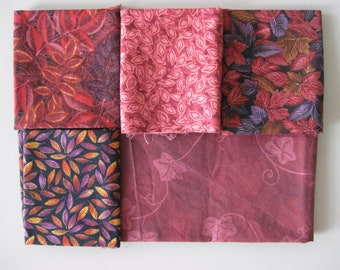 Fall fat quarters in wine and plum