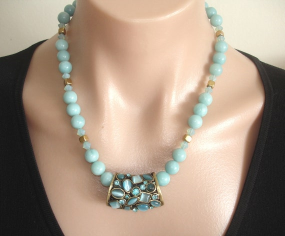 ASHIRA Blue Gemstone Slider with Amazonite, Opal Austrian Crystals, and Brass