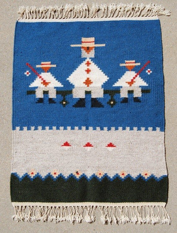 "Fisherman Indian Rug, Wool Woven Pictorial, 19"" x 25"""