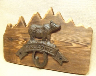Rustic Cast Iron BearWelcome coat rack  -- lodge cabin decor -- rich patina on cast iron hooks and western cedar