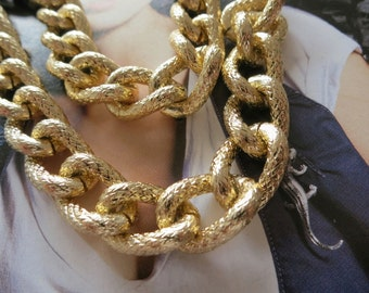 6ft Gold Aluminum Jewelry Textured Large Oval Ring Link Chain 11x17mm - K1027