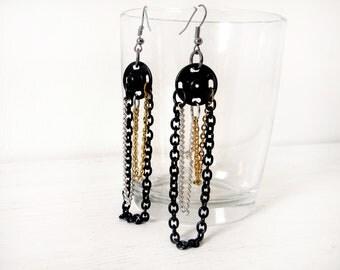 Chain earrings dangle gold silver black earrings - press studs earrings