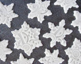 12 Snowflake Fondant Decorations (EDIBLE)