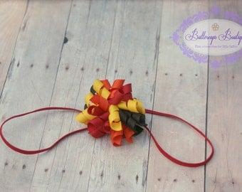 Thanksgiving headband, korker bow, fall headband, fall korker bow, corkscrew bow, turkey headband, fall hair bow, fall hairband