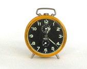 Vintage Alarm Clock Peter Germany Mustard Yellow and Black Industrial Urban