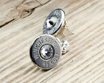 Bullet Stud Earrings / Bullet Earrings / 45 Colt Nickel Bullet Stud Earrings WIN-45C-N-SEAR / Custom Stud Earrings / Custom Bullet Earrings