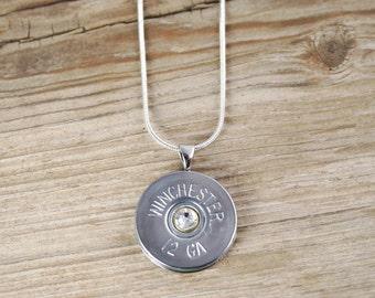 Bullet Necklace / 12 Gauge Nickel Shotgun Shell Necklace WIN-12-NNB-BHN / Shotgun Necklace / Custom Necklace / Custom Jewelry / Bullet