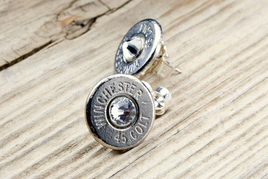 bullet stud earrings bullet earrings 45 colt nickel bullet