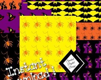 Halloween Digital Backgrounds Halloween Digital Paper Instant Download Spider Clip Art Party Clipart Digital Scrapbooking no. HB-100