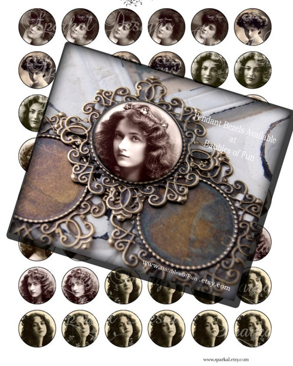 Circle Digital Collage Sheet Vintage Cameos  Victorian Women 1 inch Circle Images Bottle Cap Images L595