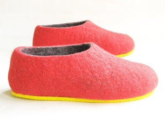Felted red gold slippers for women Woolen Clogs Felted Clogs, Valenki red slippers Boiled Wool Slippers, Home shoes for Her - Mix and Match