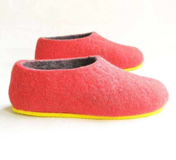 Items similar to felted slippers red grey womens 6 color for Minimalist house slippers