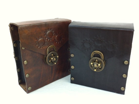 Leather Steampunk Cell Phone / iPhone / Accessory Hip Case with Twist Clasp