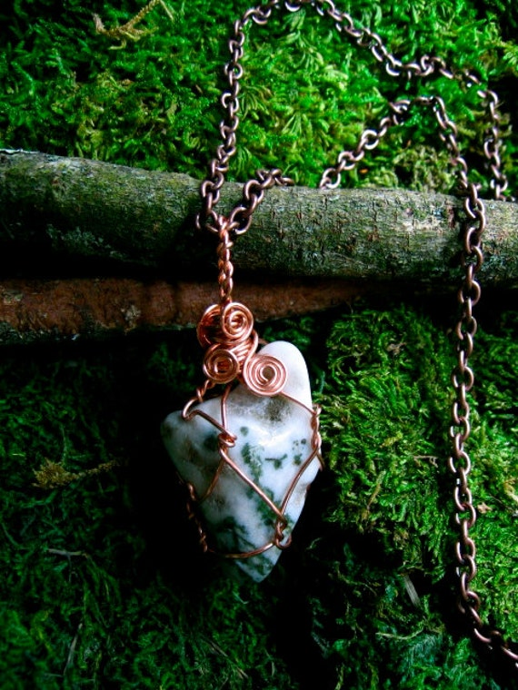 LARGE Moss Agate Amulet
