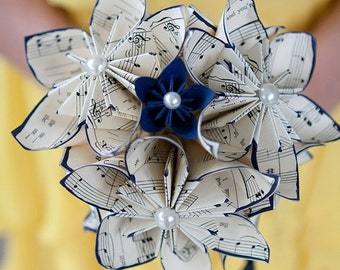 Sheet Music Wedding Bouquet: 10 paper flowers, 7 inch, made to order for bride or bridesmaid, 1st anniversary gift. origami