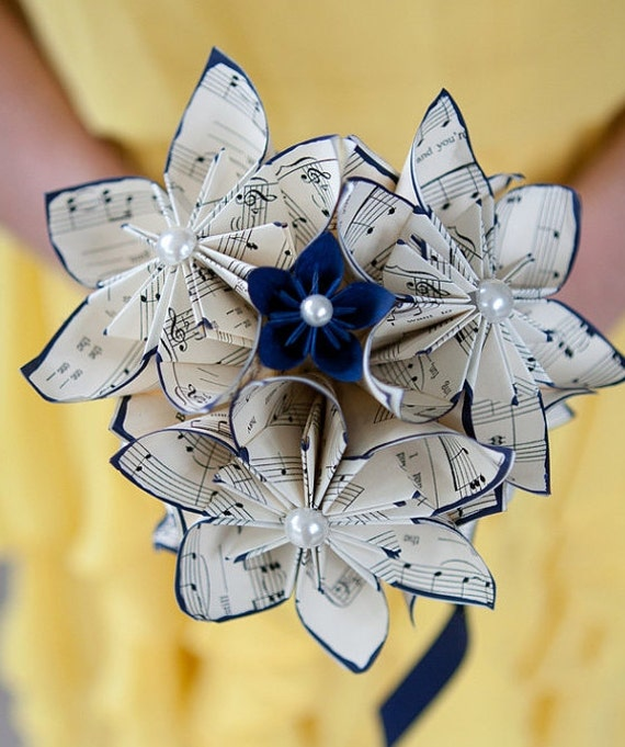 Origami Wedding Flowers: Sheet Music Wedding Bouquet: 10 Paper Flowers 7 Inch Made To