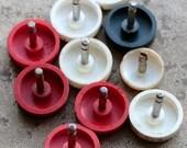 Vintage alarm clock knobs -- plastic head -- set of  10 -- D7