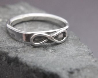 Infinity Ring Hammered Sterling Darkened Oxidized Stackable