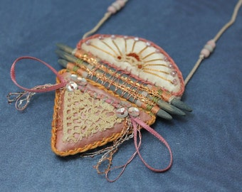 PENDANT - NECKLACE - geometric - HANDMADE - dusty pink and blue - mixed media - 1980s