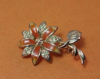 BROOCH - FLOWER brooch -signed by MONET - orange - soft yellow - peach - transluscent