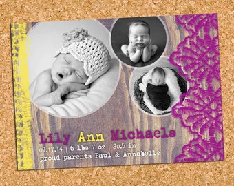 Lace Baby Birth Photo Announcement, Rustic Baby Announcement, Baby Girl Birth Photo Announcement - DIY Printable || Woodgrain + Lace 3 B&W