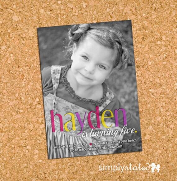 Simply Sleek Bevel Girl | custom kids photo birthday party invitation, girl picture invite - Printable Digital File, Print Service Available