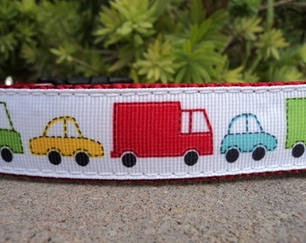 "Sale Boy Dog Collar Cars and Trucks 1"" wide Side Release Buckle adjustable - no martingale limited ribbon"