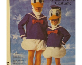 "Donald Duck Costume Pattern, Walt Disney, Hood, Feet, Bloomers, Simplicity No. 7731 UNCUT Size  Child 2-4 (Chest 21-23"" 53-58cm)"