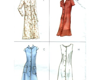Fitted A-Line Dress Pattern, Shirt Style or V-Neck, Button Front, Vogue Options No. 2412 Size 14 16 18 OR 20 22