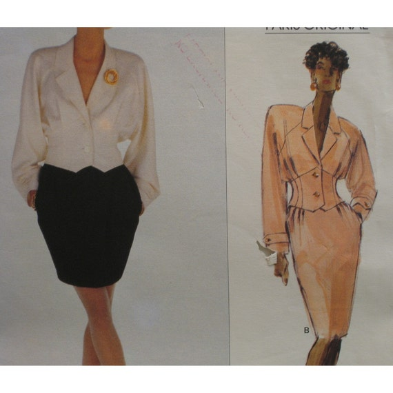 "Karl Lagerfeld Jacket, Skirt Pattern, Midriff Jacket, Raglan Sleeves, Tapered Skirt, Vogue Paris Original No. 2293 UNCUT Size 14, Bust 36"""