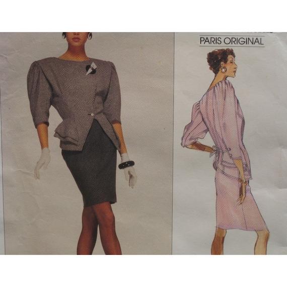 "Emanuel Ungaro Peplum Jacket Pattern, Side Closure, Shaped Hem, Straight Skirt, Vogue Paris Original No. 2309 Size 14  (Bust 36"", 92cm)"