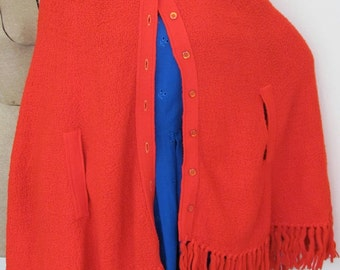 The 1970's Mod Knitted Red Rosanna Cape and Poncho
