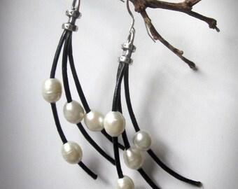 Leather Pearl Freshwater Sterling Silver Black Leather Boho Wisp Earrings
